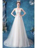 Vneck Boho Lace Destination Wedding Dress With Flowy Tulle