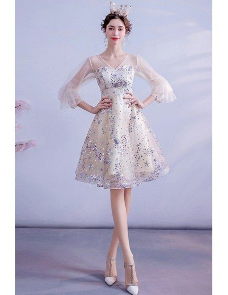 Colorful Bling Sequins Short Homecoming Prom Dress Vneck With Bubble Sleeves