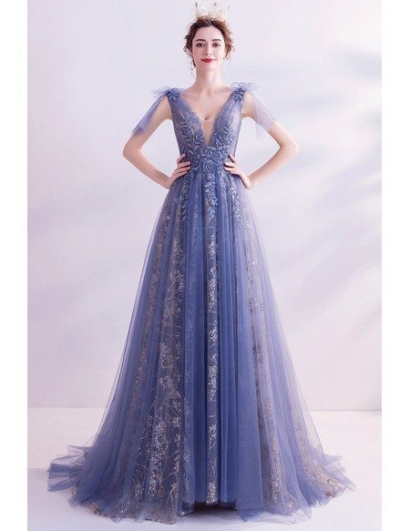 Gorgeous Vneck Tulle Aline Prom Dress With Embroidered Flowers