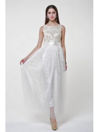 Fancy High Waist Embroidered Tulle Long Prom Dress With Sequines