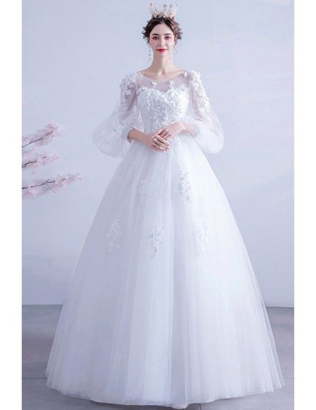 Beaded Round Neck Appliques Ballgown Wedding Dress With Bubble Sleeves