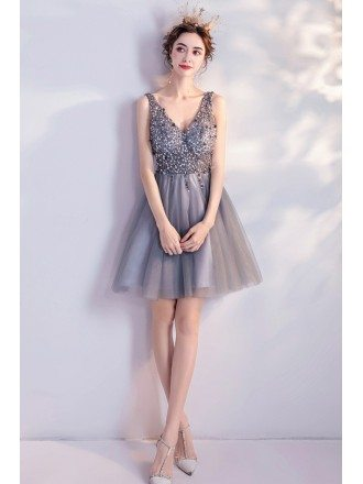 Silver Short Tulle Super Cute Bling Prom Homecoming Dress Vneck