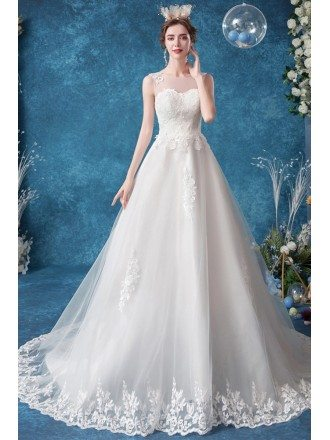 Ballgown Lace Trim Wedding Dress With Illusion Neckline Long Train