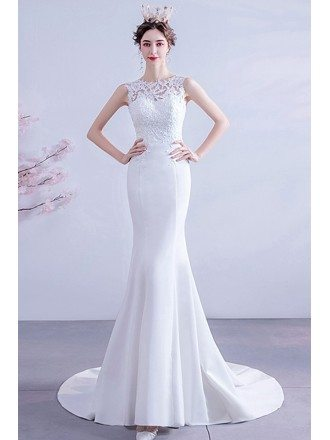 Slim Mermaid Lace V Back Wedding Dress With Sweep Train