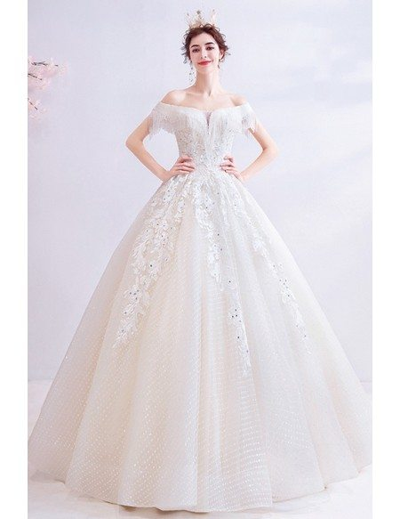 Bling Sequined Lace Dotted Ballgown Wedding Dress Princess With Off Shoulder