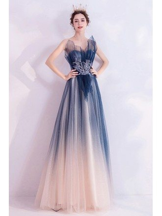Elegant Ombre Blue Tulle Prom Dress Strapless With Sequins