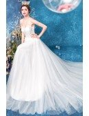 Strapless Aline Lace Long Tulle Wedding Dress With Sheer Bodice