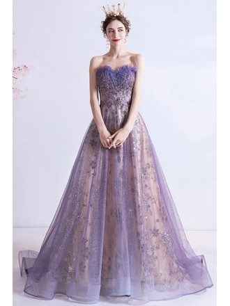 Strapless Purple Aline Long Prom Dress With Bling Sequins Pattern