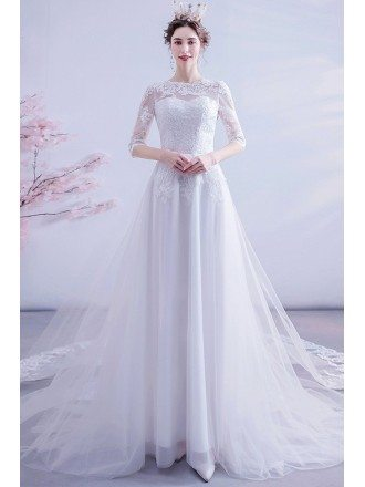 Modest Lace Illusion Half Sleeved Wedding Dress With Lace Train
