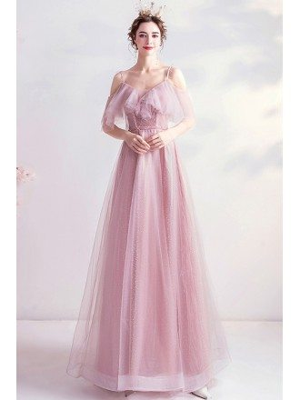 Pretty Pink Aline Tulle Homecoming Long Prom Dress With Ruffles
