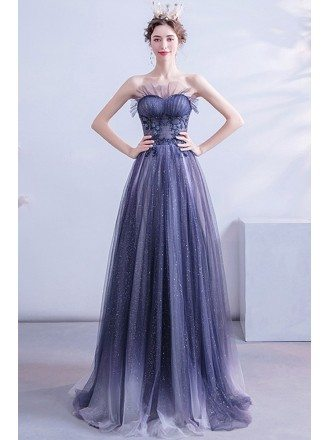 Bling Sequins Blue Long Aline Prom Dress Strapless For Teens