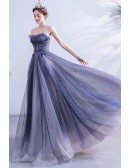 Bling Sequins Blue Long Aline Prom Dress Strapless For Teens