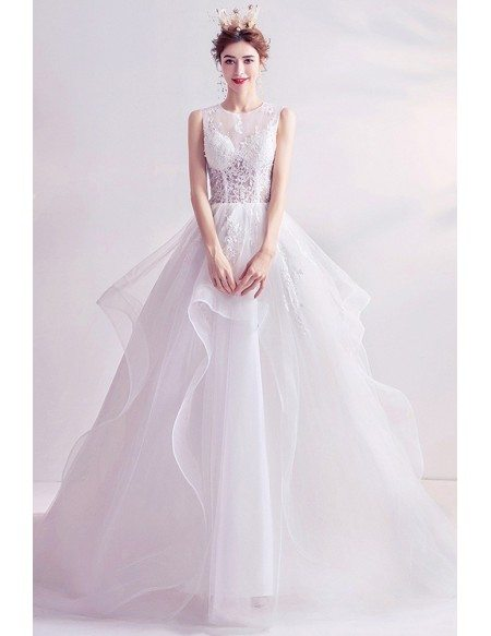 Ruffle Big Ballgown Wedding Dress With Lace Illusion Neckline