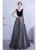 Black Bling Sequins Pattern Vneck Party Prom Dress Sleeveless