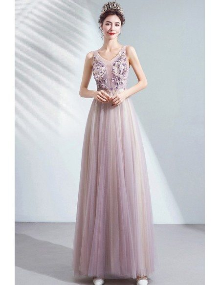 Light Ombre Purple Tulle Petals Prom Dress Aline For Teens