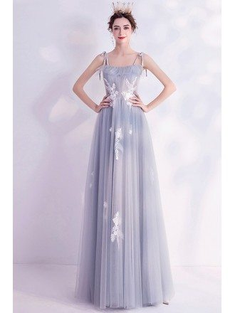 Elegant Grey Aline Long Tulle Prom Dress With Appliques Straps