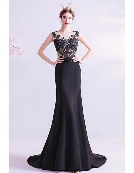 Mermaid Long Black Lace Slim Prom Formal Dress With Sweep Train