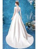 Elegant Satin Simple Wedding Dress With Beaded Cap Sleeves Lace Back