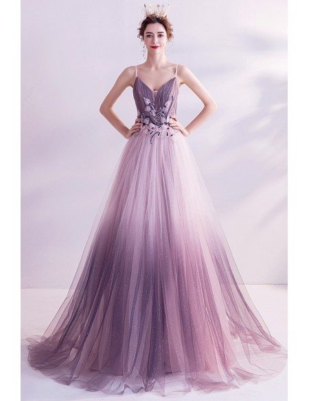 Dreamy Ombre Purple Flowy Long Tulle Aline Prom Dress With Spaghetti Straps