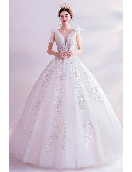 Unique Embroidery Flowers Big Ballgown Wedding Dress With Bow Straps