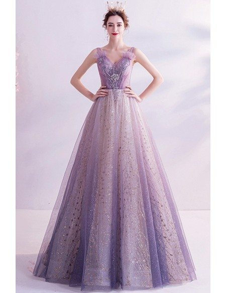 Purple With Bling Sequins Vneck Formal Prom Dress For Teens