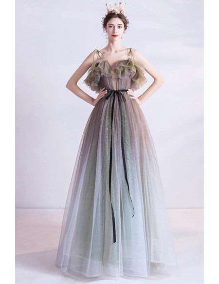 Multi Ombre Colors Cute Prom Party Dress Tulle With Straps
