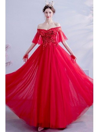 Red Off Shoulder Puffy Sleeves Long Prom Party Dress With Flowers
