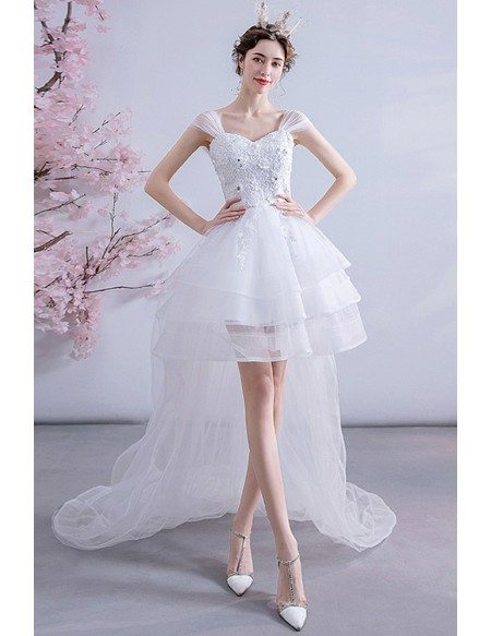 Special High Low Puffy Tulle Destination Wedding Dress With Cap Sleeves