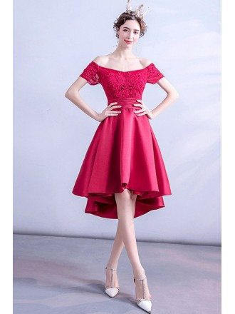 Red Lace Short High Low Homecoming Party Dress With Laceup