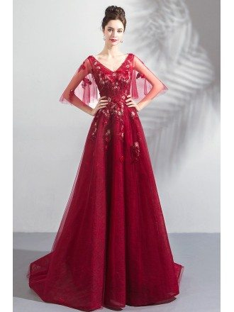 Puffy Tulle Sleeves Vneck Red Prom Dress With Appliques Flowers