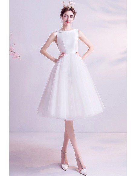 Vintage Simple Short Knee Length Reception Wedding Dress With Sheer Back