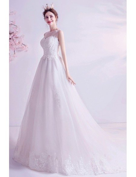 Simple Lace Trim Long Train Wedding Dress With Illusion Neckline