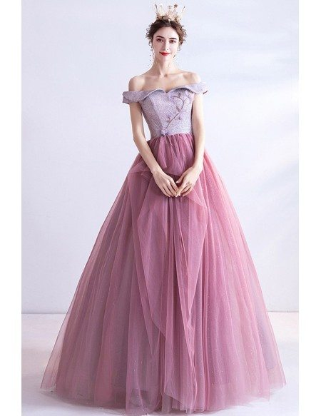Princess Pink Ruffled Tulle Ballgown Prom Dress With Off Shoulder