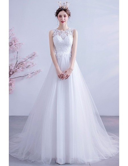 Ballgown Tulle Lace Round Neck Wedding Dress With Lace Sheer Back