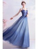Ombre Blue Tulle Aline Long Prom Dress With Bling Spaghetti Straps