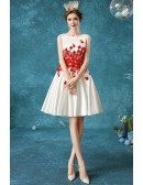 Short White With Red Flowers Wedding Party Dress With Round Neck