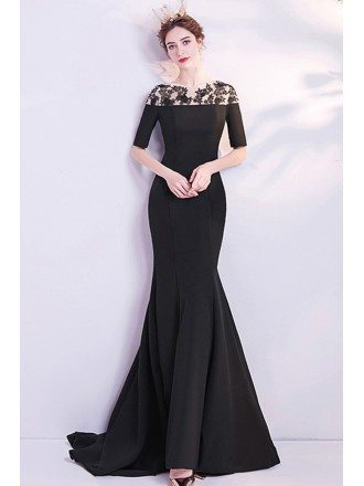 Slim Fitted Long Black Mermaid Evening Dress Modest With Half Sleeves