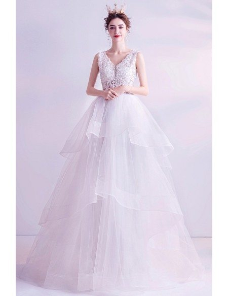 Ruffle Ballgown Tulle Sheer Top Wedding Dress With Lace Vneck