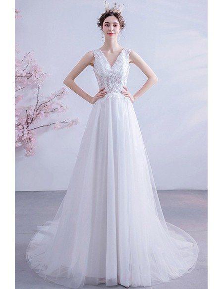 Flowy Tulle Beach Wedding Dress Vneck With Beaded Lace Sheer Waist