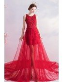 Red Lace High Low Long Train Prom Party Dress Sleeveless