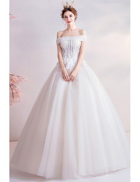 Princess Off Shoulder Ballgown Wedding Dress With Beaded Flowers