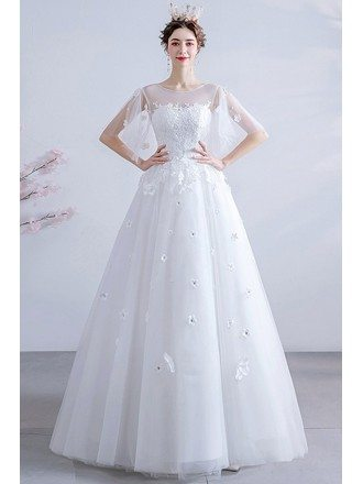 Modest Puffy Sleeves Ballgown Wedding Dress With Flowers