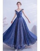 Elegant Blue Lace Aline Prom Dress Modest With Illusion Neckline