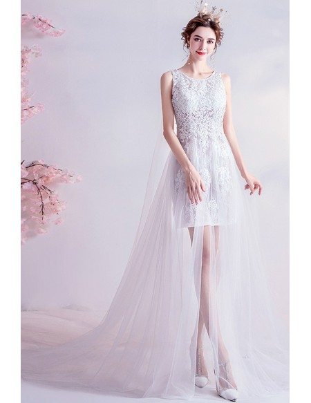 Special High Low Lace Destination Wedding Dress With Train