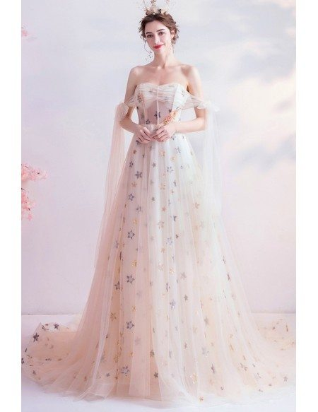Dreamy Bling Stars Formal Prom Dress Tulle With Long Train