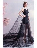 Fairytale Black Tulle High Low Lace Prom Formal Dress With Long Train