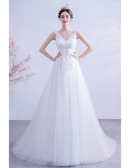 Slim Long Aline Vneck Wedding Dress Tulle With Lace Top