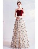 Velvet With Flowers Sequins Aline Party Prom Dress With Straps