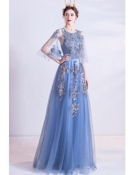 Blue Aline Long Tulle Prom Dress With Puffy Cape Sleeves