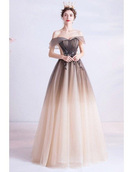 Ombre Brown Princess Ballgown Prom Dress With Ruffled Off Shoulder